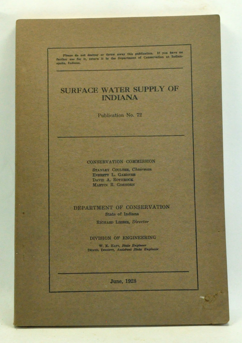 CONSERVATION COMMISSION - Surface Water Supply of Indiana: Publication No. 72