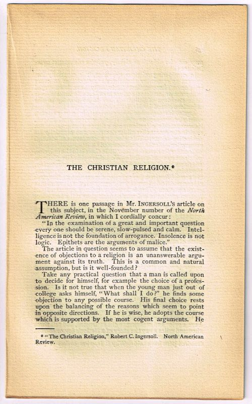 WHEELER, EVERETT P. - The Christian Religion. [Original Single Article from the American Church Review, Number 136 (January 1882), Pp. 135-144]