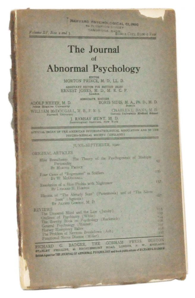 The Journal of Abnormal Psychology, Volume 15, Nos. 2 and 3 (June-September 1920). Morton Prince, W. McDougall, Lydiard H. Horton, Alfred Gordon.