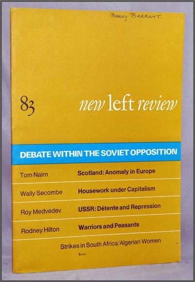 New Left Review, 83 (January-February 1974) : Debate Within the Soviet Opposition. Perry Anderson, Tom Nairn, Wally Secombe, Roy Medvedev, Rodney Hilton, Sam Mhlongo, Anya Bostock, William Pomeroy.