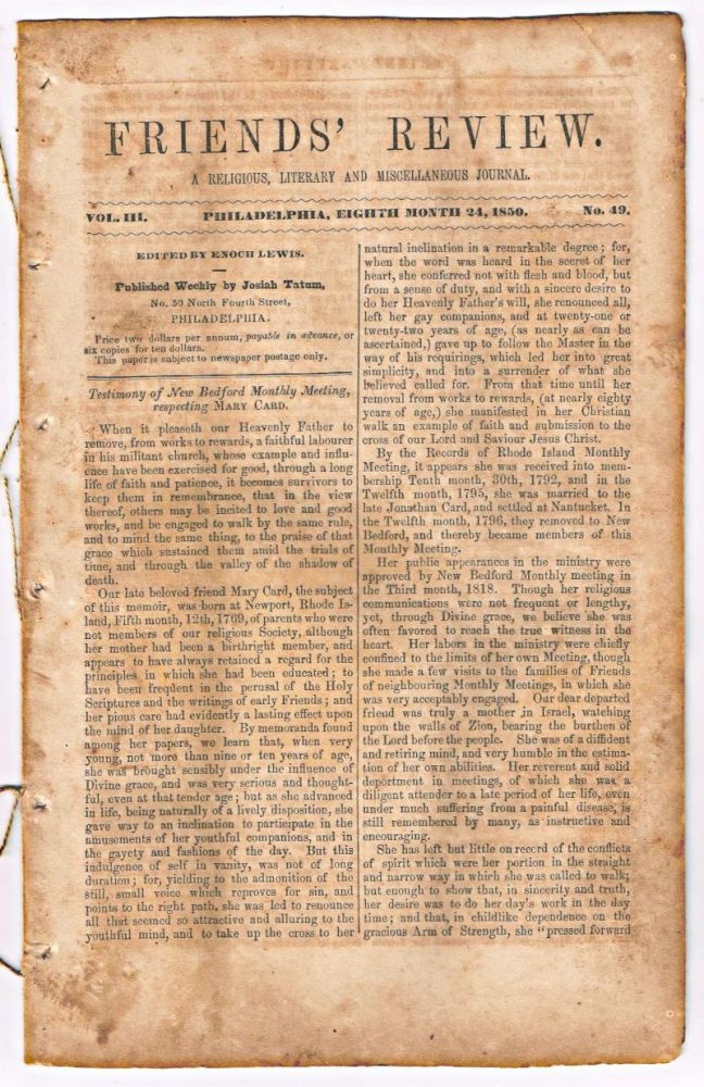 Friends' Review. A Religious, Literary and Miscellaneous Journal. Volume III, Number 49 (August 24, 1850). Enoch Lewis.