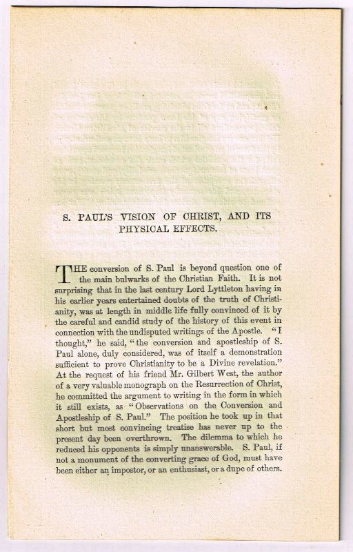 S. Paul's Vision of Christ, and Its Physical Effects. [original single article from The American Church Review, Number 138 (July 1882), pp. 237-251]. William Burnet.