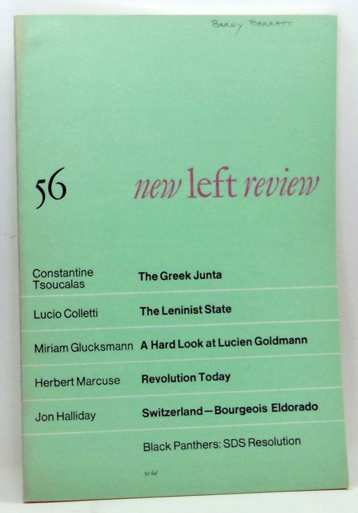 New Left Review 56 (July-August 1969). Perry Anderson, Cosntantine Tsoucalas, Lucio Colletti, Miriam Glucksmann, Herbert Marcuse, Jon Halliday.