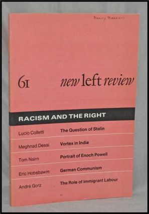 New Left Review, 61 (May-June 1970) : Racism and the Right. Perry Anderson, Lucio Colletti,...
