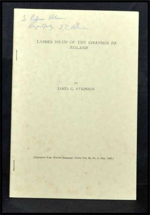 Laisses 169-170 of the Chanson De Roland; Offprinted Article from Modern Language Notes, Voo. 82,...