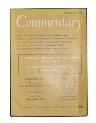 Commentary: Vol. 30, No. 3 (September 1960). Norman Podhoretz, Dennis H. Wrong, Ernest Van den...