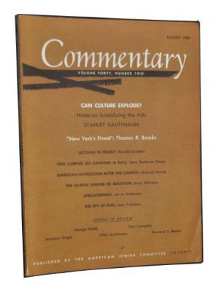 Commentary: Vol. 40, No. 2 (August 1965). Norman Podhoretz, Stanley Kauffmann, Ronald Sanders,...