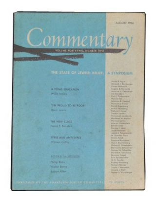Commentary: Vol. 42, No. 2 (August 1966). Norman Podhoretz, Willie Morris, Oscar Lewis, David T....