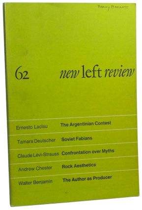 New Left Review Number 62 (July-August 1970). Perry Anderson, Ernesto Lacla, Marysa Gerassi,...