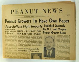 Peanut News, Volume 1, Number 1 (April 1955). W. V. Rawlings, Joe Sugg