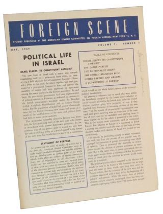 Foreign Scene: Studies Published by the American Jewish Committee, Volume 1, Number 1 (May, 1949). Maurice J. Goldbloom.