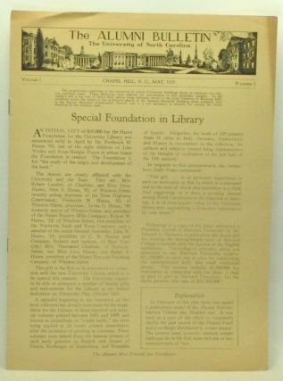 The Alumni Bulletin: The University of North Carolina. Volume 1, Number 1 (May 1929). Collier Cobb