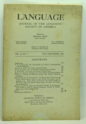 Language: Journal of the Linguistic Society of America. Volume 17, No. 3 (July-September 1941)....