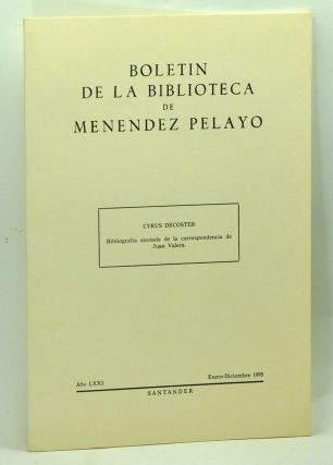 Bibliografía anotada de la correspondencia de Juan Valera. [Offprint single article from Boletin...
