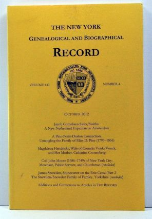 The New York Genealogical and Biographical Record, Volume 143, Number 4 (October 2012). Patricia...