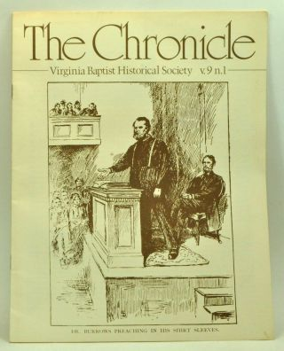 The Chronicle: Virginia Baptist Historical Society, volume 9, number 1 (1983). Virginia Baptist Historical Society.