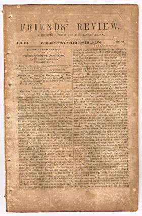 Friends' Review. A Religious, Literary and Miscellaneous Journal. Volume III, Number 41 (June 29, 1850). Enoch Lewis.