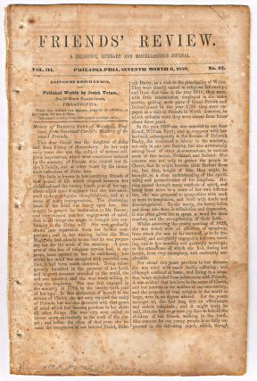 Friends' Review. A Religious, Literary and Miscellaneous Journal. Volume III, Number 42 (July 6, 1850). Enoch Lewis.