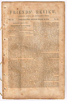 Friends' Review. A Religious, Literary and Miscellaneous Journal. Volume III, Number 44 (July 20, 1850). Enoch Lewis.