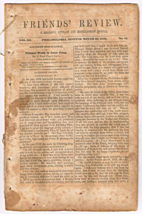 Friends' Review. A Religious, Literary and Miscellaneous Journal. Volume III, Number 45 (July 27, 1850). Enoch Lewis.