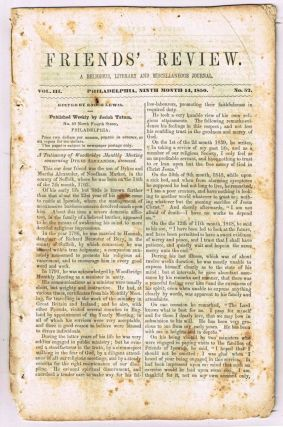 Friends' Review. A Religious, Literary and Miscellaneous Journal. Volume III, Number 52 (September 14, 1850). Enoch Lewis.