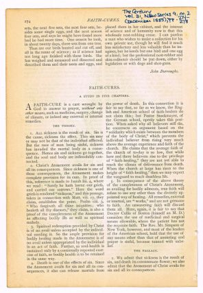Faith-Cures. A Study in Five Chapters. [original single article from The Century Illustrated Monthly Magazine, Volume 31, New Series 9, Number 2 (December, 1885), pp. 274-278]. A. F. Schauffler.