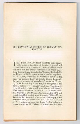 The Centennial Jubilee of German Literature. [original single article from The American Church Review, Number 137 (April 1882), pp. 225-255]. J. I. Mombert.