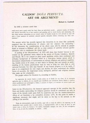Galdos' Doña Perfecta: art or argument? [original single article from Anales Galdosianos, Año VII (1972), pp. 29-47]. Richard A. Cardwell.