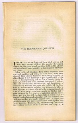 The Temperance Question. [original single article from The American Church Review, Number 136...