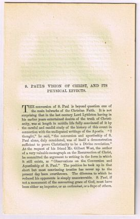 S. Paul's Vision of Christ, and Its Physical Effects. [original single article from The American...