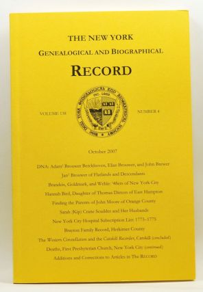 The New York Genealogical and Biographical Record, Volume 138, Number 4 (October 2007). Patricia...