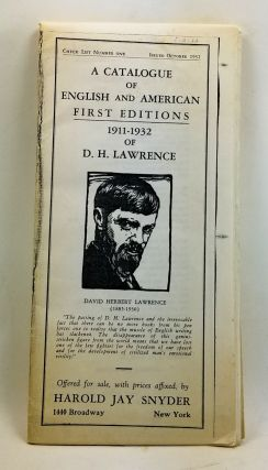 A Catalogue of English and American First Editions 1911-1932 of D. H. Lawrence. Check List Number...