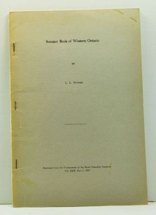 Summer Birds of Western Ontario; Reprinted from the Transactions of the Royal Canadian Institute,...