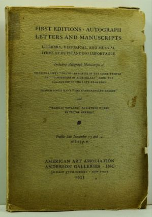 First Editions, Autograph Letters and Manuscripts: Literary, HIstorical and Musical Items of...