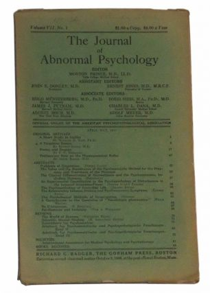 The Journal of Abnormal Psychology, Volume VII, No. 1 (April-May 1912). Morton Prince, William D. Tait, Ernest Jones, F. C. Prescott, Smith Baker, others.