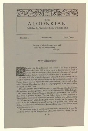 The Algonkian, Number I (October 1987). Bernard Cheltenham Bodoni