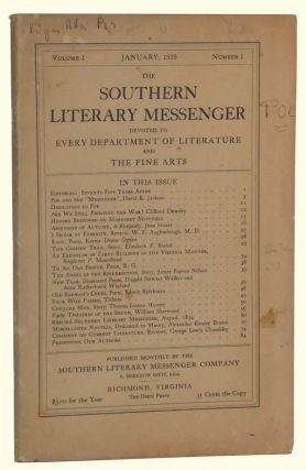 The Southern Literary Messenger, Volume I, Number 1 (January, 1939). F. Meredith Dietz, David K....