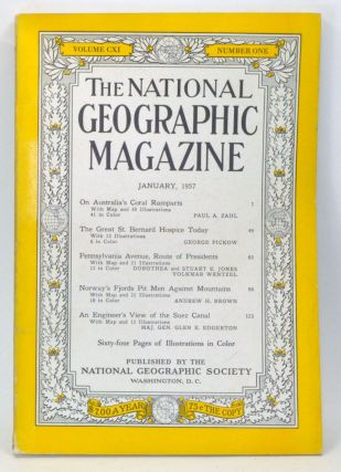 The National Geographic Magazine, Volume CXI (111), Number One (1) (January 1957). National Geographic Society, Paul A.; Pickow Zahl, Maj. Gen. Glen E., Andrew H; Edgerton, Volkmar; Brown, Dorothea and Stuart E.; Wentzel, George; Jones.