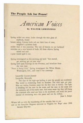 American Voices: The People Ask for Peace! (July 1953). Walter Lowenfels