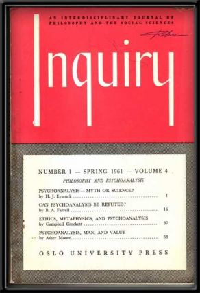 Inquiry: an Interdisciplinary Journal of Philosophy and the Social Sciences, Volume 4, Number 1...