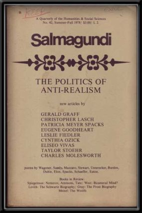 Salmagundi, Number 42 (Summer-Fall 1978). Robert Boyers, Gerald Graff, Leslie Fiedler, Christopher Lasch, Eliseo Vivas, Patricia Meyer Spacks, Cynthia Ozick, Eugene Goodheart, Taylor Stoehr, Charles Molesworth, Others.