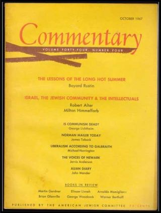 Commentary: Vol. 44, No. 4 (October 1967). Norman Podhoretz, Bayard Rustin, Robert Alter, Milton...