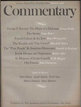 Commentary: Vol. 45, No. 1 (January 1968). Norman Podhoretz, George Kateb, Isaac Babel, Renee...